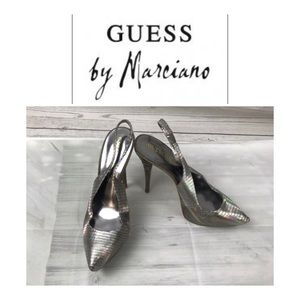 Silver High Heel Shoes by Guess Marciano. Sz 8M